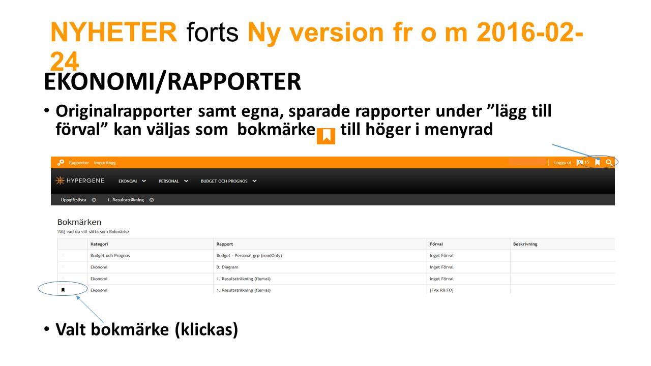 NYHETER forts Ny version fr o m 2016-02- 24 EKONOMI/RAPPORTER Originalrapporter samt egna, sparade rapporter under lägg till förval kan väljas som bokmärke till höger i menyrad Valt bokmärke (klickas)