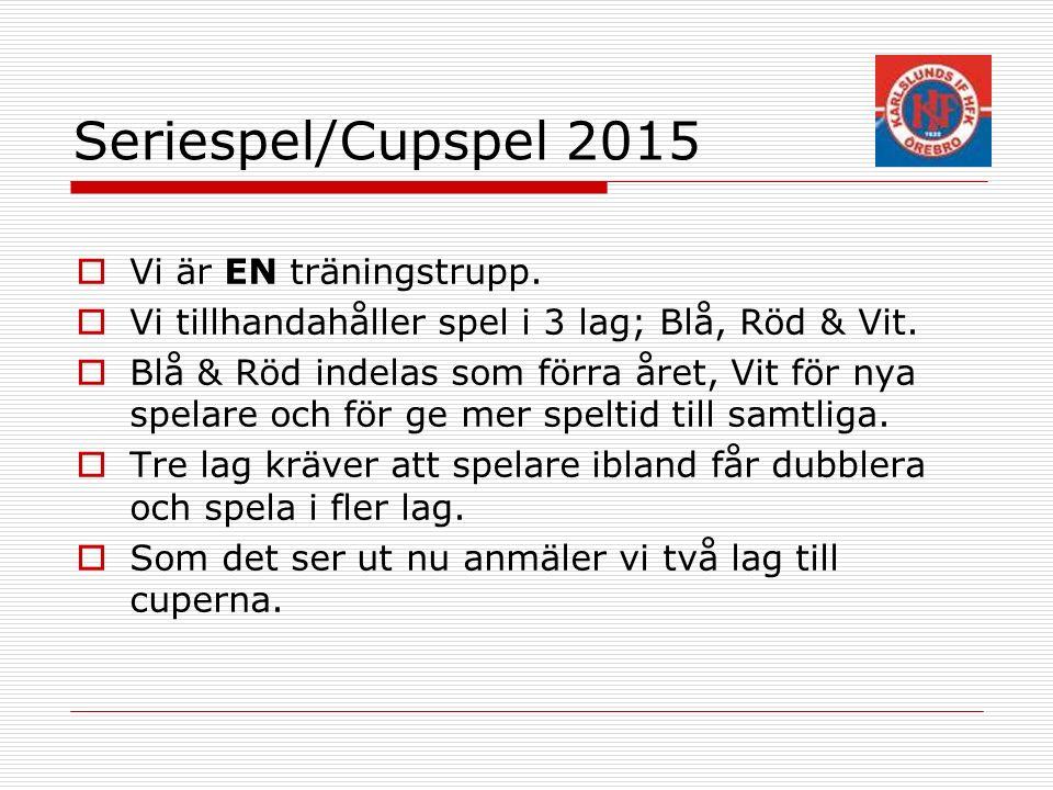 Seriespel/Cupspel 2015  Vi är EN träningstrupp. Vi tillhandahåller spel i 3 lag; Blå, Röd & Vit.