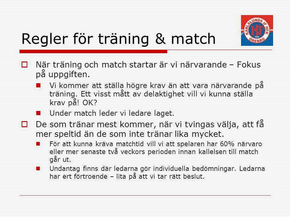 Regler för träning & match  När träning och match startar är vi närvarande – Fokus på uppgiften.