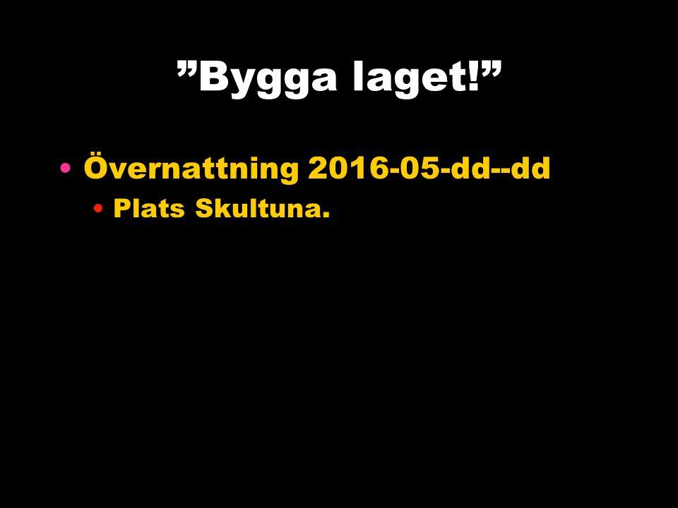 Bygga laget! Övernattning 2016-05-dd--dd Plats Skultuna.