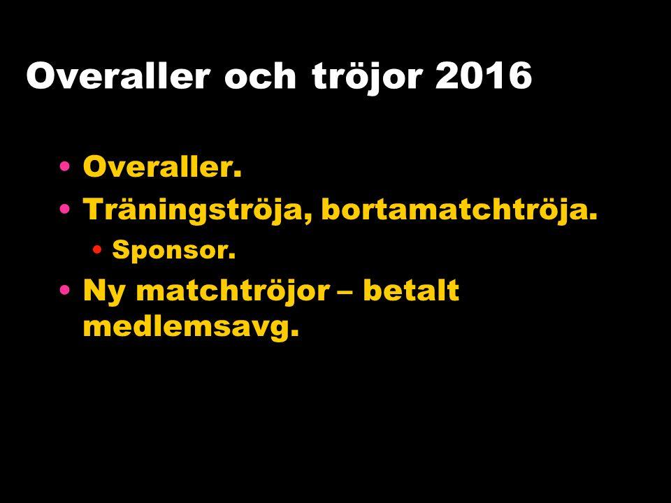 Overaller och tröjor 2016 Overaller. Träningströja, bortamatchtröja.