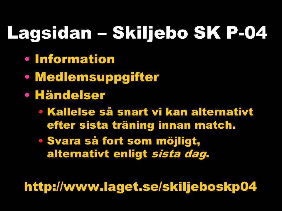 Lagsidan – Skiljebo SK P-04 Information Medlemsuppgifter Händelser Kallelse så snart vi kan alternativt efter sista träning innan match.