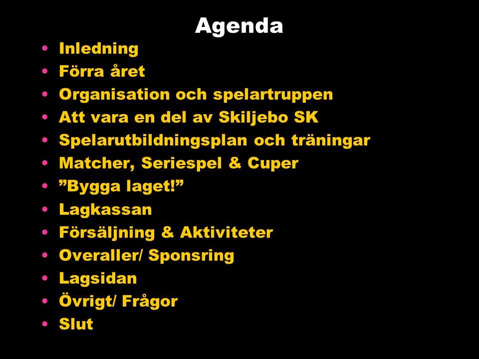 Agenda Inledning Förra året Organisation och spelartruppen Att vara en del av Skiljebo SK Spelarutbildningsplan och träningar Matcher, Seriespel & Cuper Bygga laget! Lagkassan Försäljning & Aktiviteter Overaller/ Sponsring Lagsidan Övrigt/ Frågor Slut