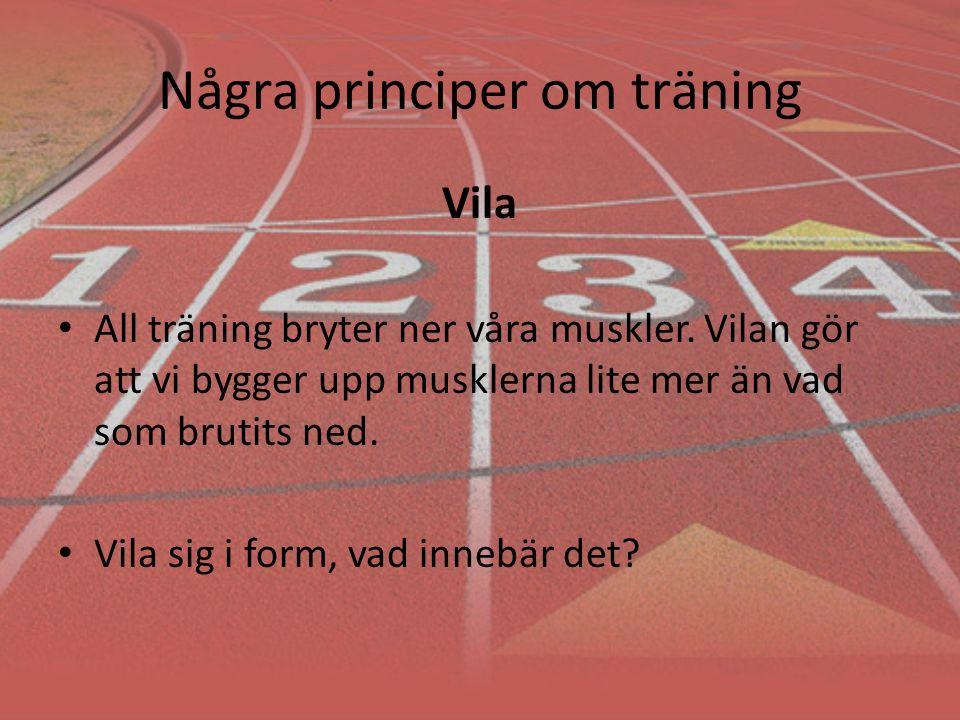Några principer om träning Vila All träning bryter ner våra muskler.