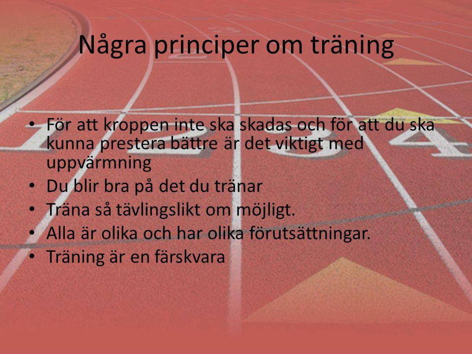 Några principer om träning För att kroppen inte ska skadas och för att du ska kunna prestera bättre är det viktigt med uppvärmning Du blir bra på det du tränar Träna så tävlingslikt om möjligt.