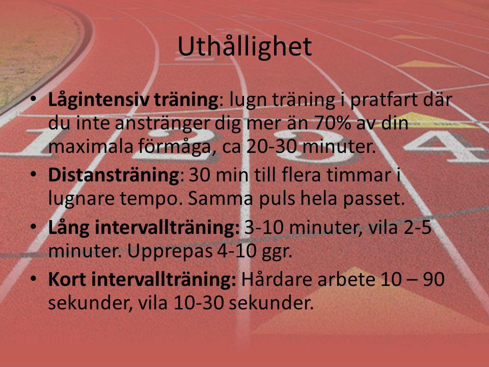 Uthållighet Lågintensiv träning: lugn träning i pratfart där du inte anstränger dig mer än 70% av din maximala förmåga, ca 20-30 minuter.