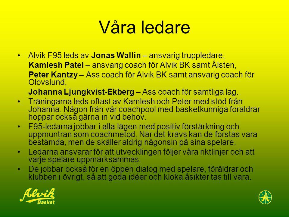 Våra ledare Alvik F95 leds av Jonas Wallin – ansvarig truppledare, Kamlesh Patel – ansvarig coach för Alvik BK samt Ålsten, Peter Kantzy – Ass coach f