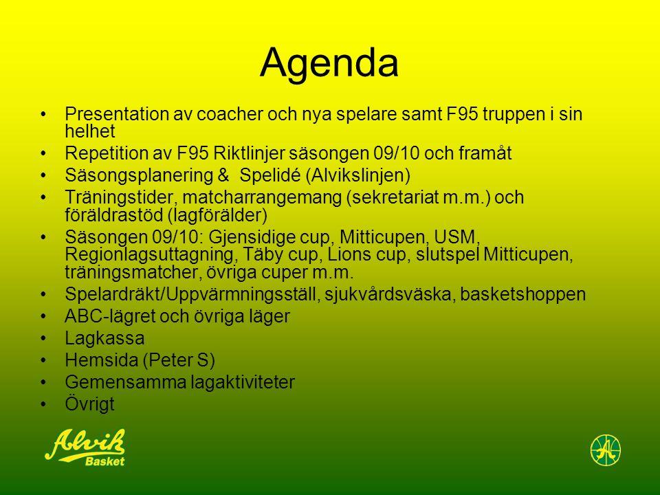 Agenda Presentation av coacher och nya spelare samt F95 truppen i sin helhet Repetition av F95 Riktlinjer säsongen 09/10 och framåt Säsongsplanering &