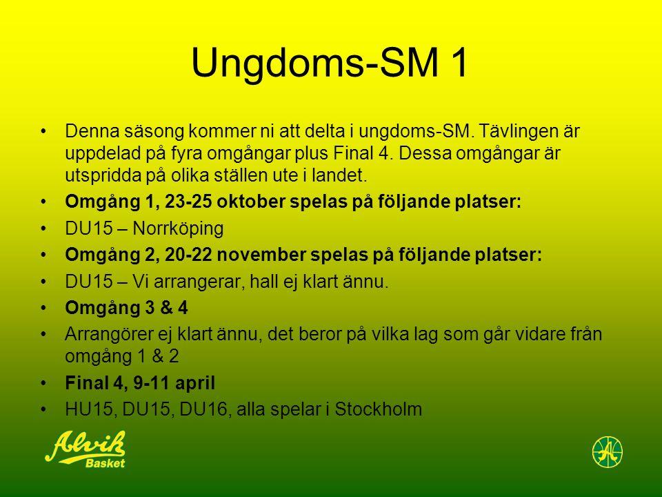 Ungdoms-SM 1 Denna säsong kommer ni att delta i ungdoms-SM. Tävlingen är uppdelad på fyra omgångar plus Final 4. Dessa omgångar är utspridda på olika