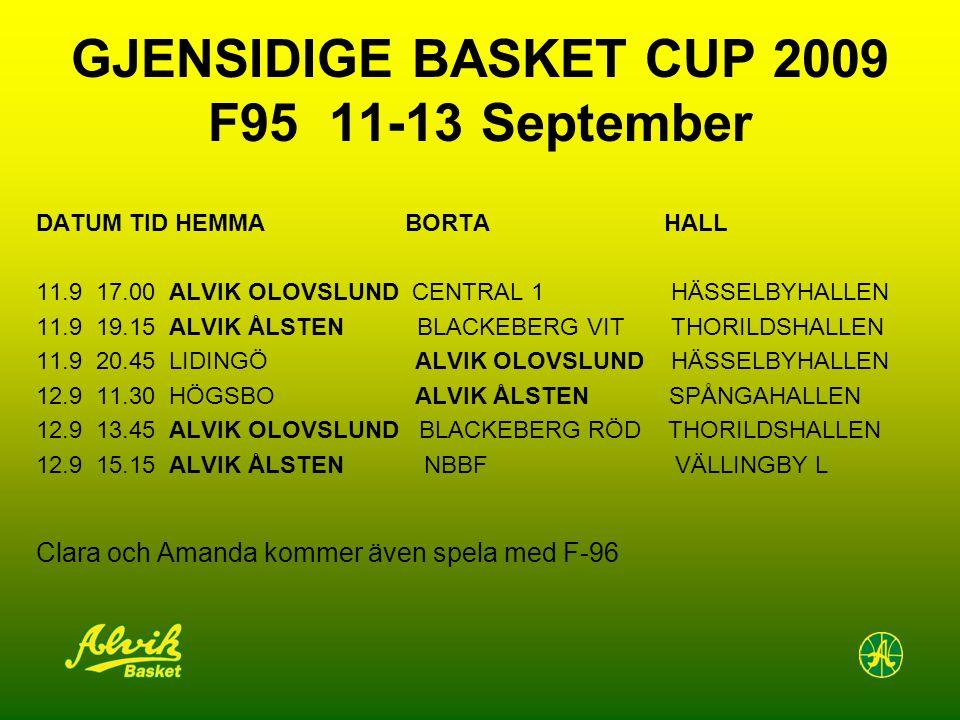 GJENSIDIGE BASKET CUP 2009 F95 11-13 September DATUM TID HEMMA BORTA HALL 11.9 17.00 ALVIK OLOVSLUND CENTRAL 1 HÄSSELBYHALLEN 11.9 19.15 ALVIK ÅLSTEN