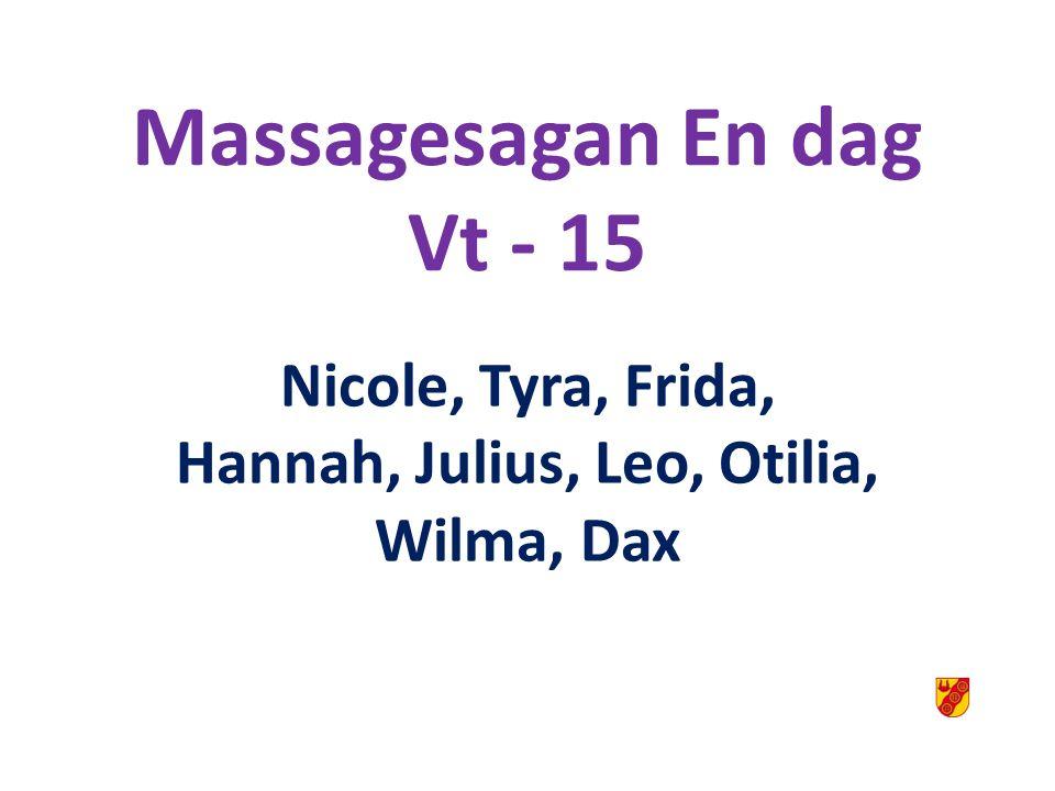 Ämnesrubrik Massagesagan En dag Vt - 15 Nicole, Tyra, Frida, Hannah, Julius, Leo, Otilia, Wilma, Dax