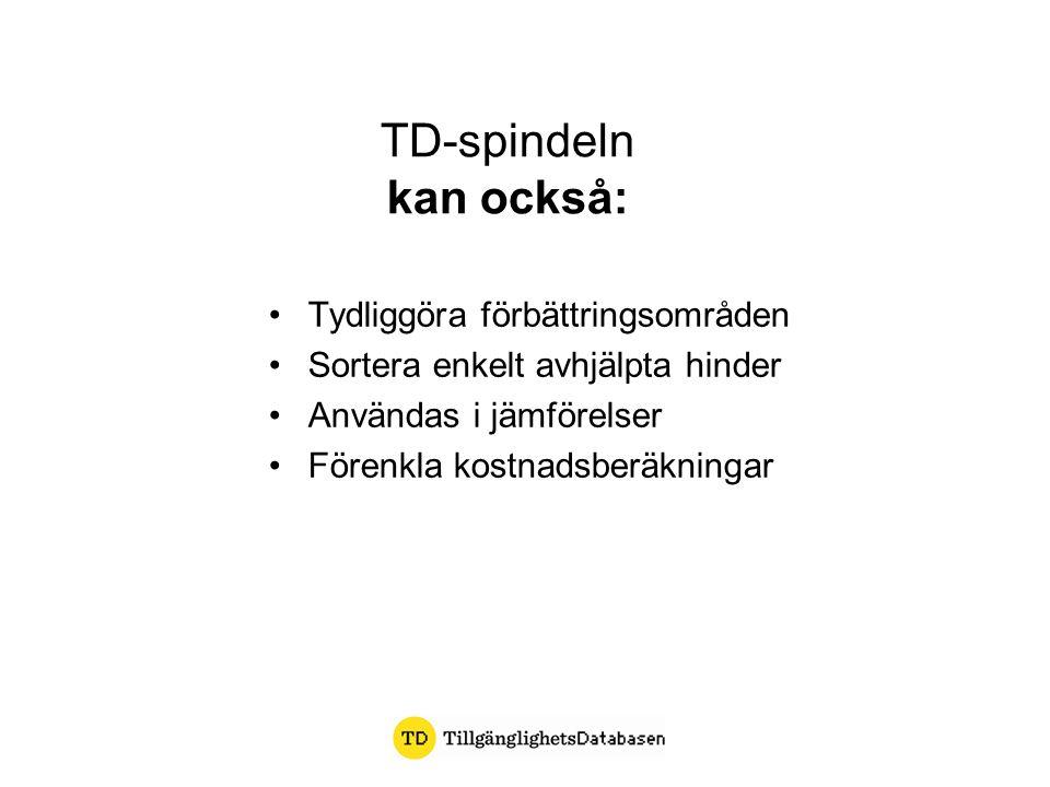 TD-spindeln kan också: Tydliggöra förbättringsområden Sortera enkelt avhjälpta hinder Användas i jämförelser Förenkla kostnadsberäkningar