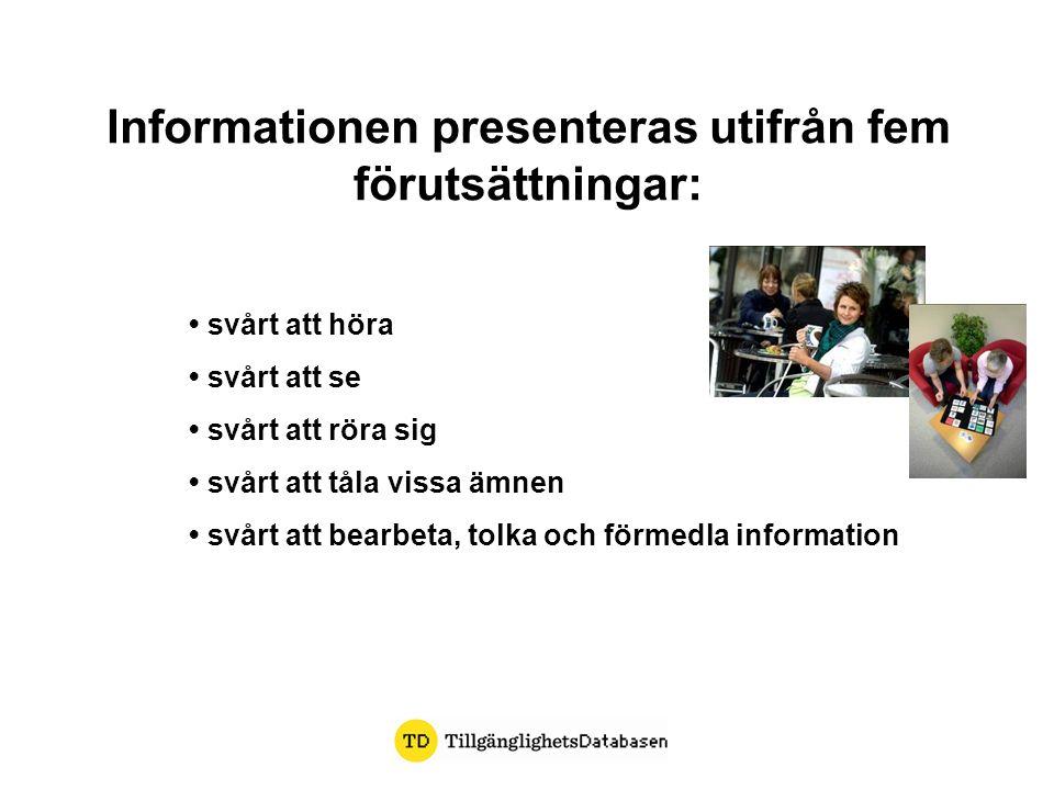 Informationen presenteras utifrån fem förutsättningar: svårt att höra svårt att se svårt att röra sig svårt att tåla vissa ämnen svårt att bearbeta, tolka och förmedla information