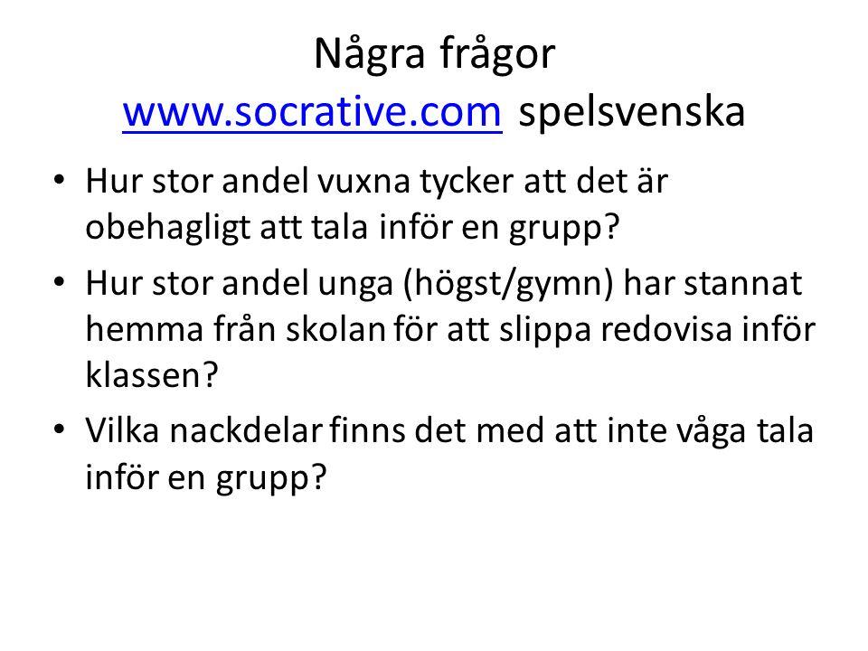 Några frågor www.socrative.com spelsvenska www.socrative.com Hur stor andel vuxna tycker att det är obehagligt att tala inför en grupp? Hur stor andel
