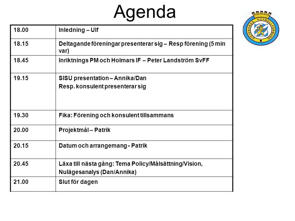 Agenda 18.00Inledning – Ulf 18.15Deltagande föreningar presenterar sig – Resp förening (5 min var) 18.45Inriktnings PM och Holmars IF – Peter Landström SvFF 19.15SISU presentation – Annika/Dan Resp.