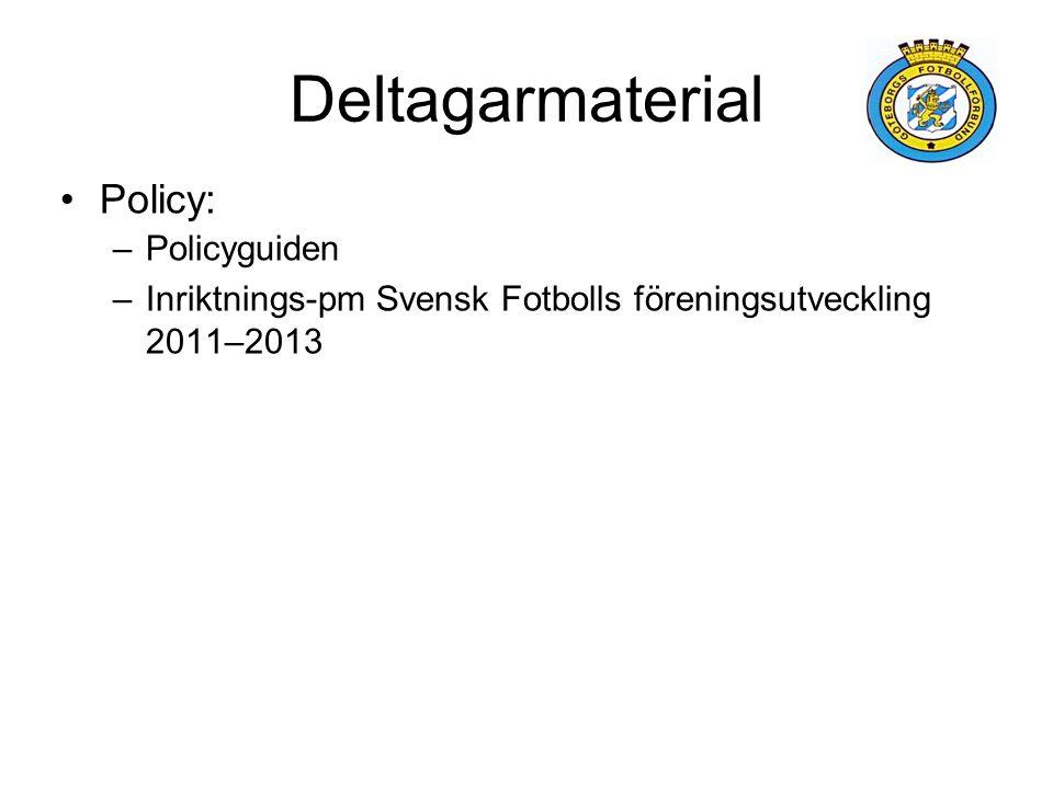 Deltagarmaterial Policy: –Policyguiden –Inriktnings-pm Svensk Fotbolls föreningsutveckling 2011–2013