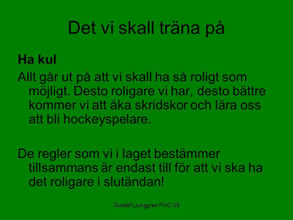 Gustaf Ljunggren FHC U9 Det vi skall träna på Ha kul Allt går ut på att vi skall ha så roligt som möjligt.