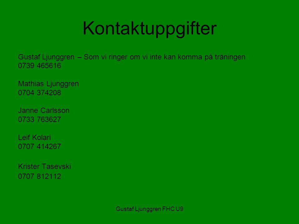 Gustaf Ljunggren FHC U9 Kontaktuppgifter Gustaf Ljunggren – Som vi ringer om vi inte kan komma på träningen 0739 465616 Mathias Ljunggren 0704 374208 Janne Carlsson 0733 763627 Leif Kolari 0707 414267 Krister Tasevski 0707 812112