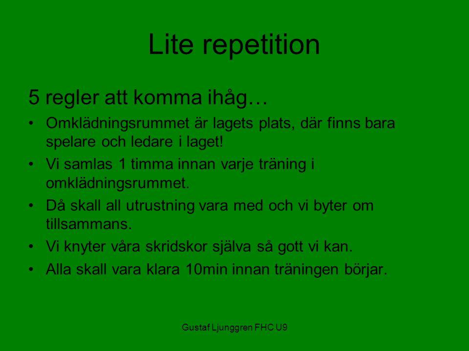 Gustaf Ljunggren FHC U9 Lite repetition 5 regler att komma ihåg… Omklädningsrummet är lagets plats, där finns bara spelare och ledare i laget.