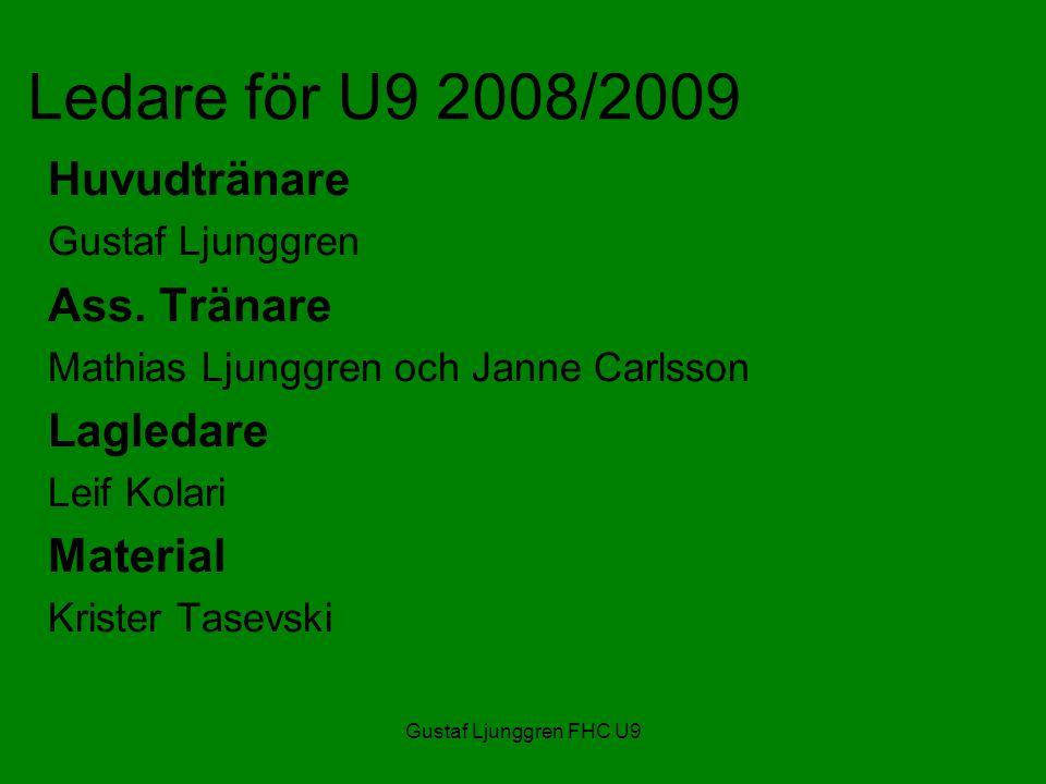 Gustaf Ljunggren FHC U9 Ledare för U9 2008/2009 Huvudtränare Gustaf Ljunggren Ass.