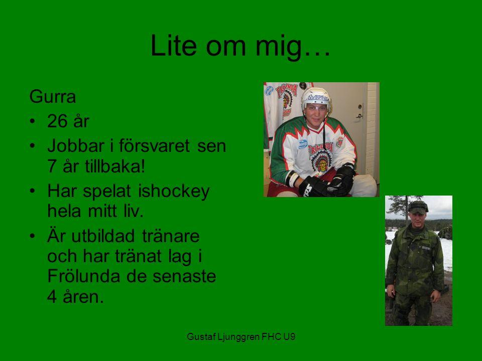 Gustaf Ljunggren FHC U9 Lite om mig… Gurra 26 år Jobbar i försvaret sen 7 år tillbaka.