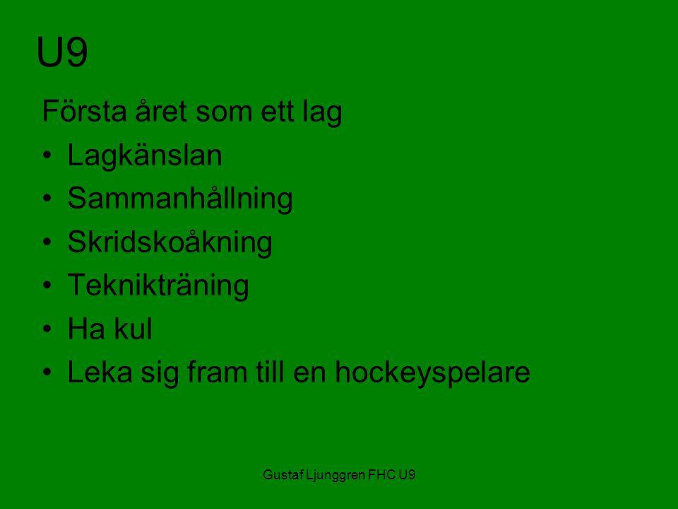 Gustaf Ljunggren FHC U9 U9 Första året som ett lag Lagkänslan Sammanhållning Skridskoåkning Teknikträning Ha kul Leka sig fram till en hockeyspelare
