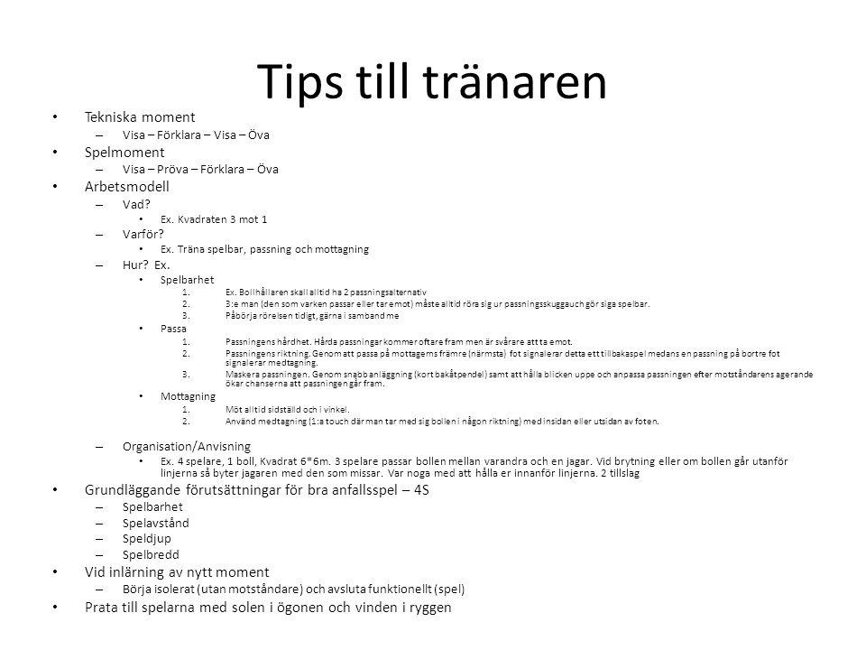 Tips till tränaren Tekniska moment – Visa – Förklara – Visa – Öva Spelmoment – Visa – Pröva – Förklara – Öva Arbetsmodell – Vad.