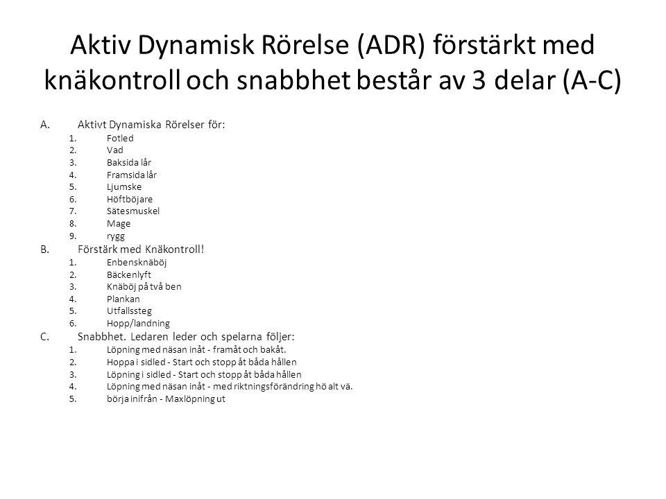 Aktiv Dynamisk Rörelse (ADR) förstärkt med knäkontroll och snabbhet består av 3 delar (A-C) A.Aktivt Dynamiska Rörelser för: 1.Fotled 2.Vad 3.Baksida lår 4.Framsida lår 5.Ljumske 6.Höftböjare 7.Sätesmuskel 8.Mage 9.rygg B.Förstärk med Knäkontroll.