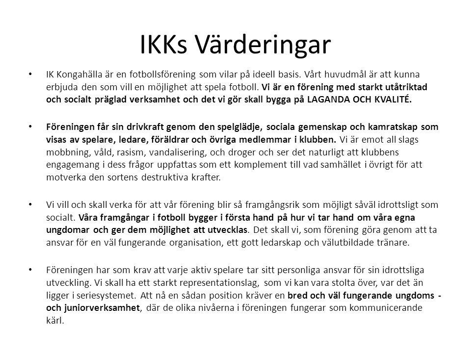IKKs Värderingar IK Kongahälla är en fotbollsförening som vilar på ideell basis.