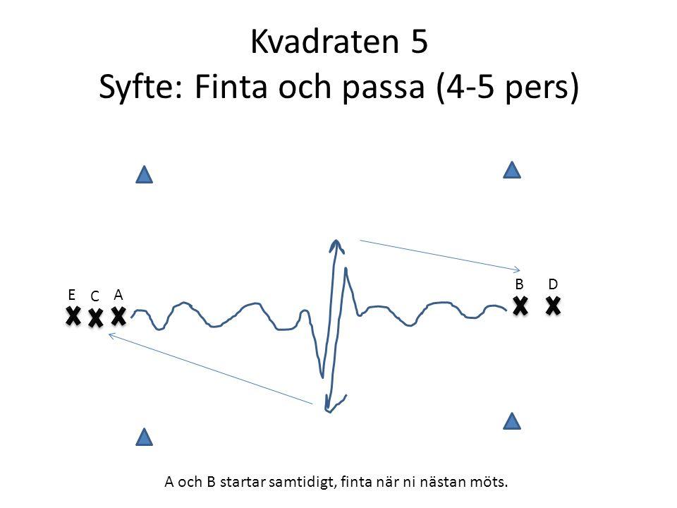 Kvadraten 5 Syfte: Finta och passa (4-5 pers) E B C A D A och B startar samtidigt, finta när ni nästan möts.