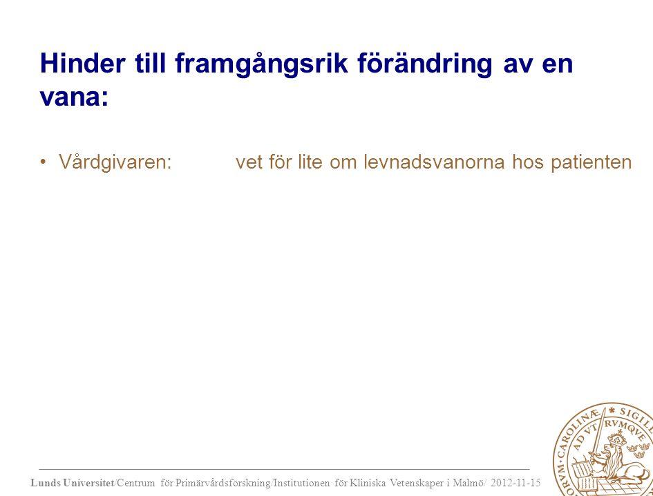 Lunds Universitet/Centrum för Primärvårdsforskning/Institutionen för Kliniska Vetenskaper i Malmö/ 2012-11-15 Hinder till framgångsrik förändring av en vana: Vårdgivaren: vet för lite om levnadsvanorna hos patienten