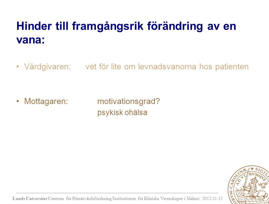 Hinder till framgångsrik förändring av en vana: Vårdgivaren: vet för lite om levnadsvanorna hos patienten Mottagaren: motivationsgrad.