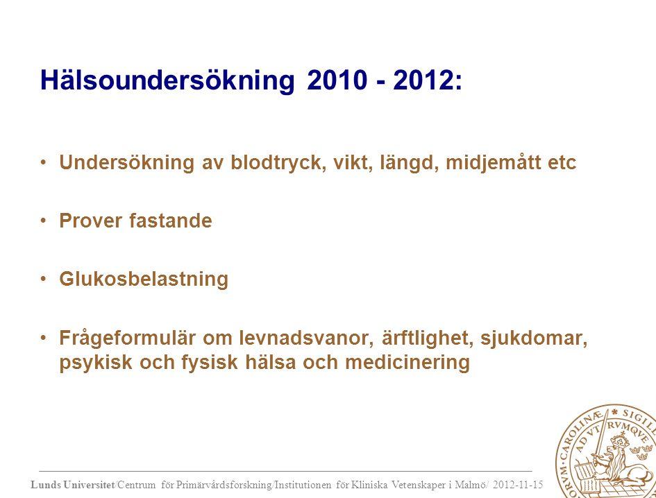 Hälsoundersökning 2010 - 2012: Undersökning av blodtryck, vikt, längd, midjemått etc Prover fastande Glukosbelastning Frågeformulär om levnadsvanor, ärftlighet, sjukdomar, psykisk och fysisk hälsa och medicinering