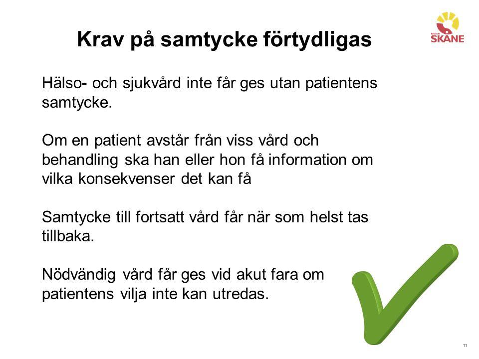 11 Krav på samtycke förtydligas Hälso- och sjukvård inte får ges utan patientens samtycke.