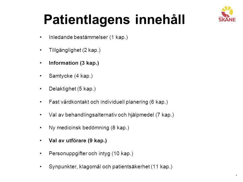 4 Patientlagens innehåll Inledande bestämmelser (1 kap.) Tillgänglighet (2 kap.) Information (3 kap.) Samtycke (4 kap.) Delaktighet (5 kap.) Fast vårdkontakt och individuell planering (6 kap.) Val av behandlingsalternativ och hjälpmedel (7 kap.) Ny medicinsk bedömning (8 kap.) Val av utförare (9 kap.) Personuppgifter och intyg (10 kap.) Synpunkter, klagomål och patientsäkerhet (11 kap.)