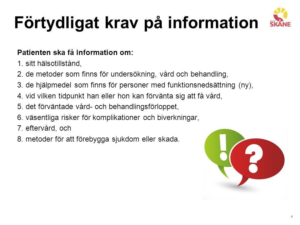 8 Förtydligat krav på information Patienten ska få information om: 1.