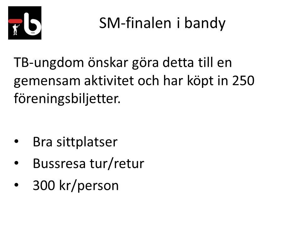 SM-finalen i bandy TB-ungdom önskar göra detta till en gemensam aktivitet och har köpt in 250 föreningsbiljetter. Bra sittplatser Bussresa tur/retur 3