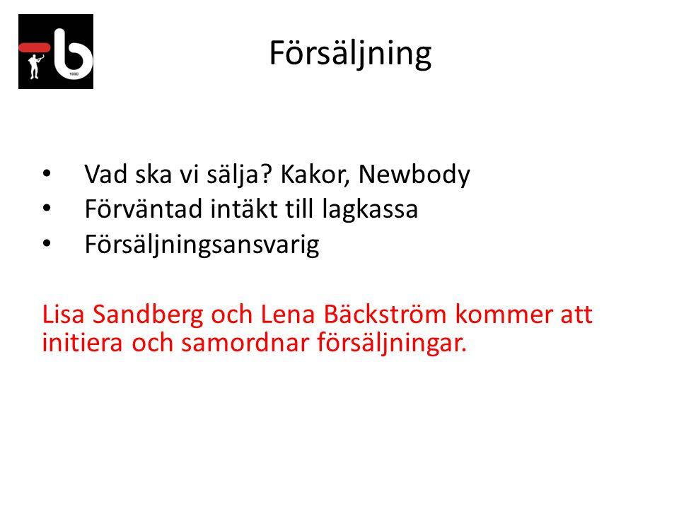 Försäljning Vad ska vi sälja? Kakor, Newbody Förväntad intäkt till lagkassa Försäljningsansvarig Lisa Sandberg och Lena Bäckström kommer att initiera