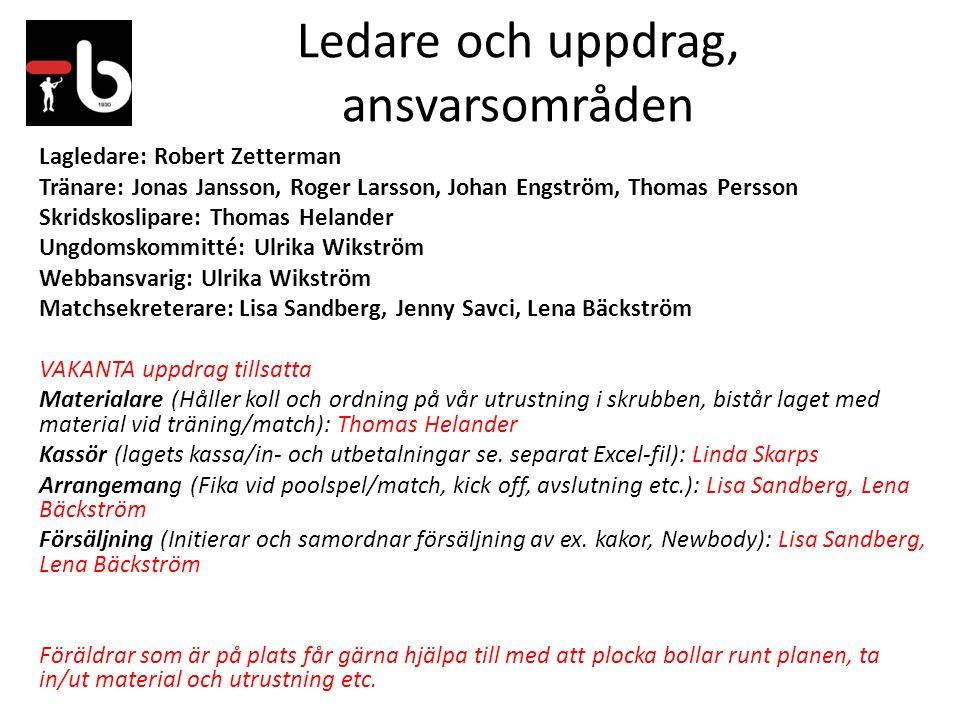 Ledare och uppdrag, ansvarsområden Lagledare: Robert Zetterman Tränare: Jonas Jansson, Roger Larsson, Johan Engström, Thomas Persson Skridskoslipare: