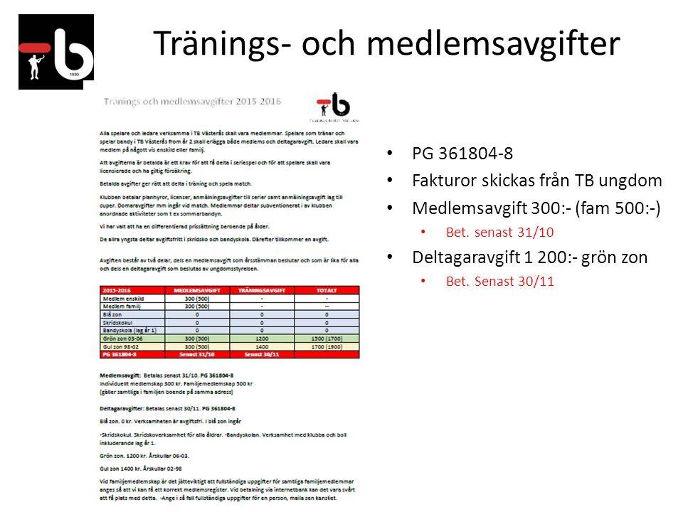 Tränings- och medlemsavgifter PG 361804-8 Fakturor skickas från TB ungdom Medlemsavgift 300:- (fam 500:-) Bet. senast 31/10 Deltagaravgift 1 200:- grö