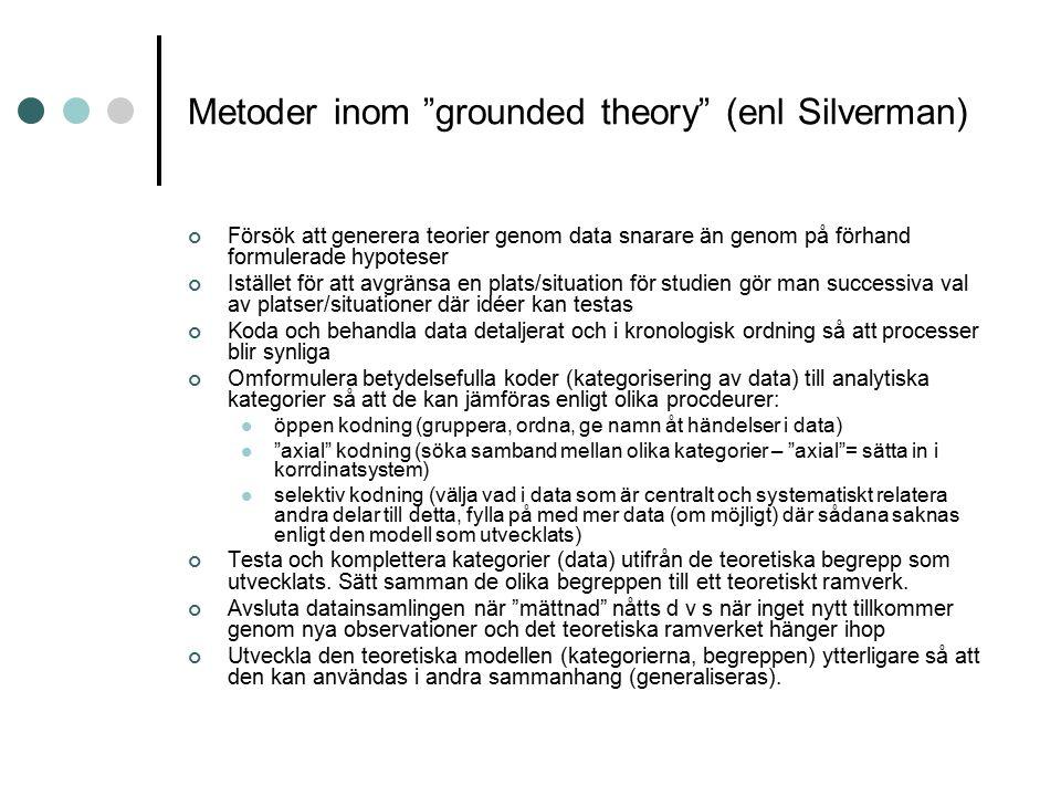 """Metoder inom """"grounded theory"""" (enl Silverman) Försök att generera teorier genom data snarare än genom på förhand formulerade hypoteser Istället för a"""