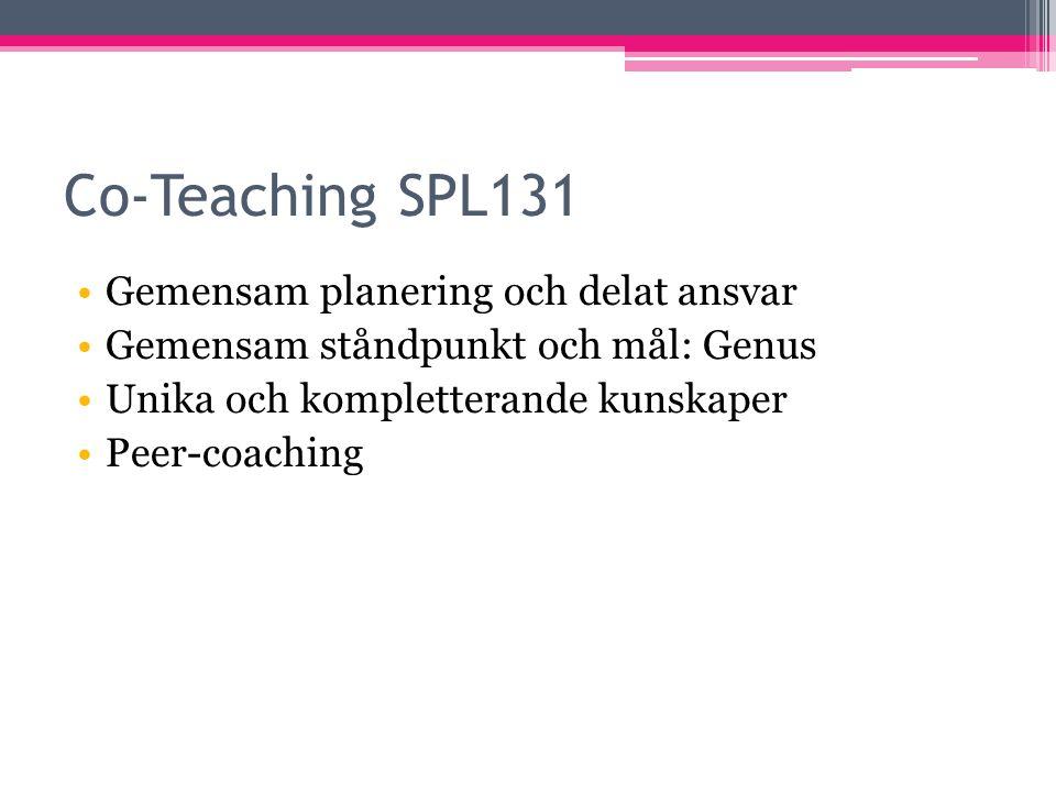 Co-Teaching SPL131 Gemensam planering och delat ansvar Gemensam ståndpunkt och mål: Genus Unika och kompletterande kunskaper Peer-coaching