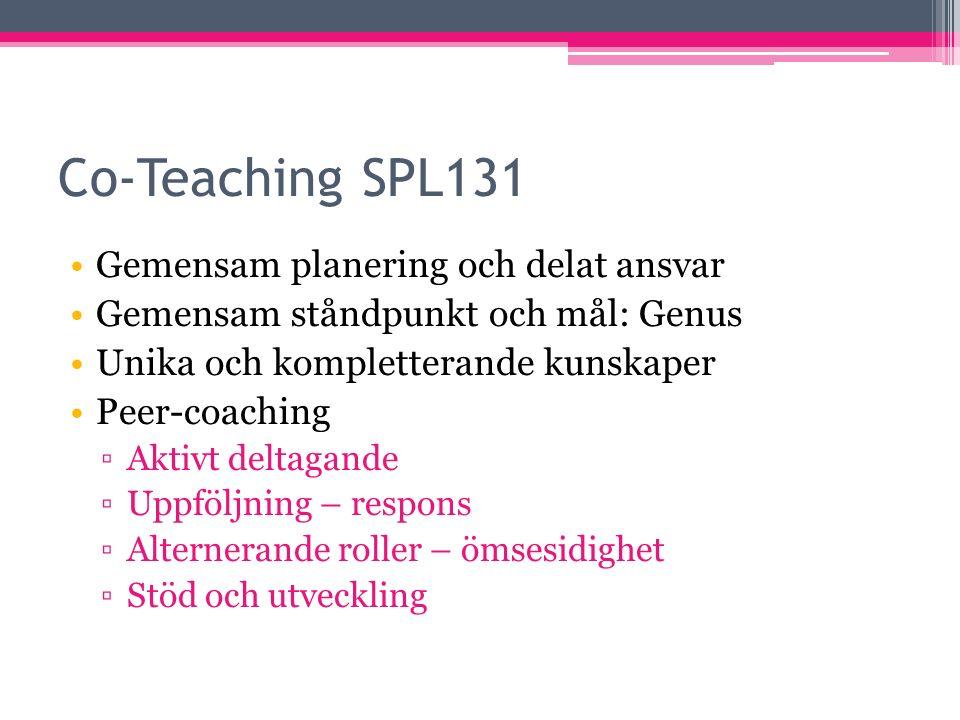 Co-Teaching SPL131 Gemensam planering och delat ansvar Gemensam ståndpunkt och mål: Genus Unika och kompletterande kunskaper Peer-coaching ▫Aktivt deltagande ▫Uppföljning – respons ▫Alternerande roller – ömsesidighet ▫Stöd och utveckling