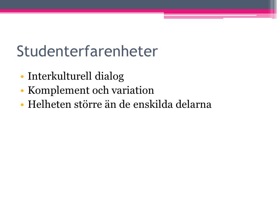 Studenterfarenheter Interkulturell dialog Komplement och variation Helheten större än de enskilda delarna