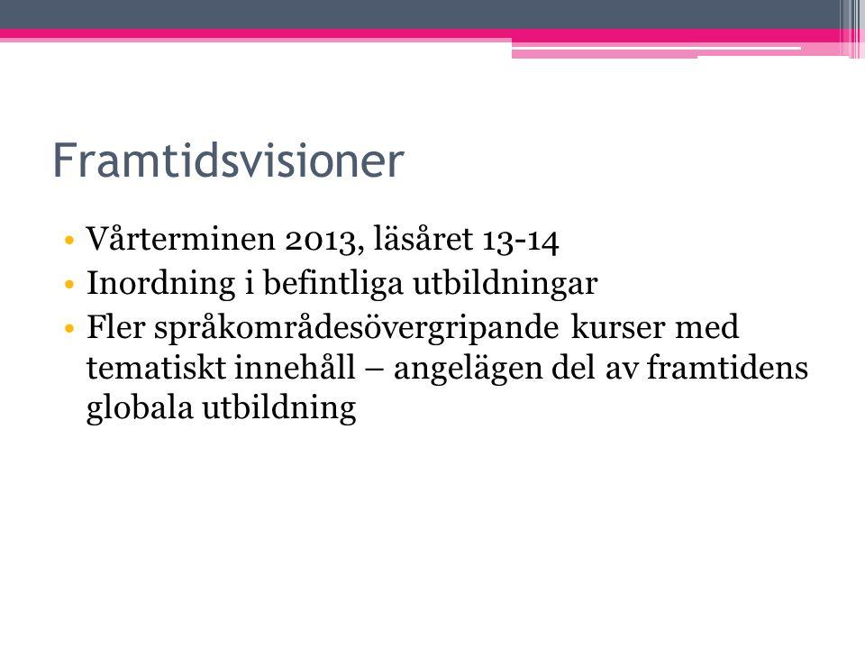 Framtidsvisioner Vårterminen 2013, läsåret 13-14 Inordning i befintliga utbildningar Fler språkområdesövergripande kurser med tematiskt innehåll – ang