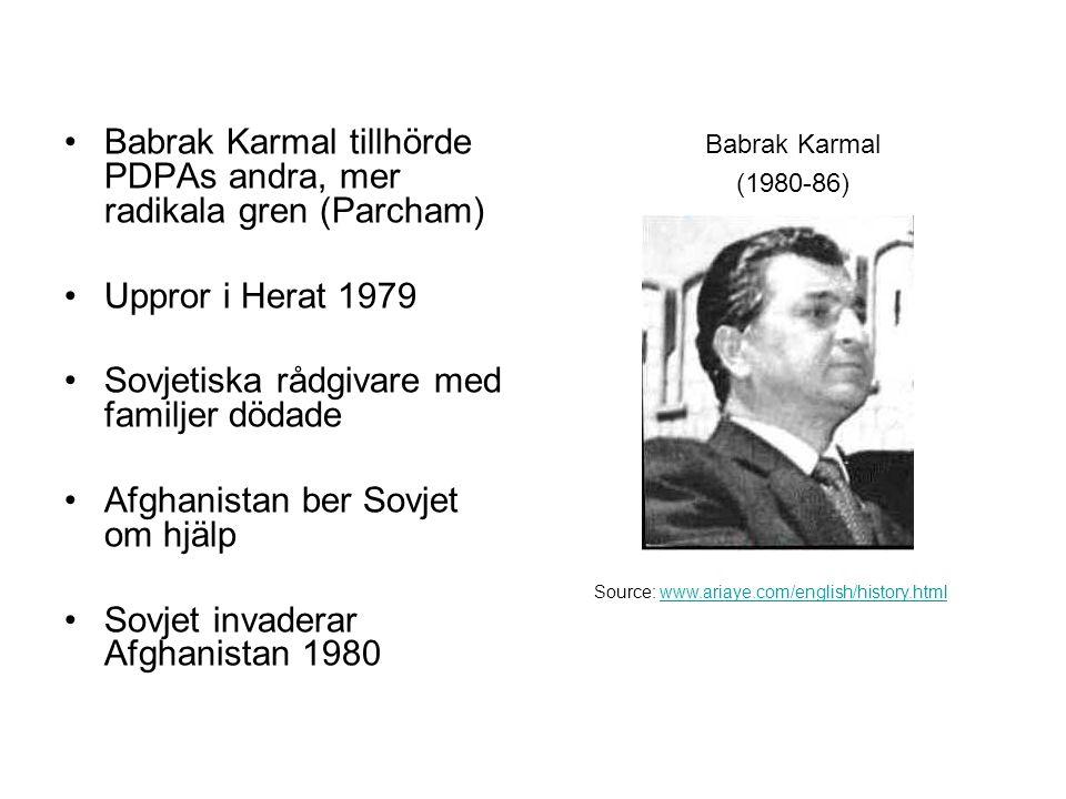 Babrak Karmal tillhörde PDPAs andra, mer radikala gren (Parcham) Uppror i Herat 1979 Sovjetiska rådgivare med familjer dödade Afghanistan ber Sovjet om hjälp Sovjet invaderar Afghanistan 1980 Babrak Karmal (1980-86) Source: www.ariaye.com/english/history.htmlwww.ariaye.com/english/history.html