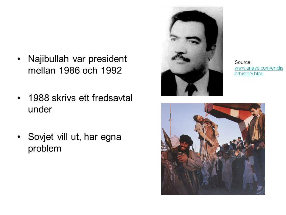 Najibullah var president mellan 1986 och 1992 1988 skrivs ett fredsavtal under Sovjet vill ut, har egna problem Source: www.ariaye.com/englis h/history.html www.ariaye.com/englis h/history.html