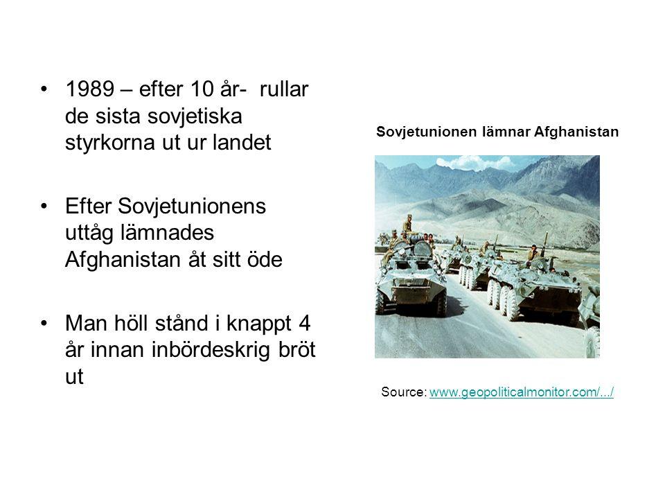 1989 – efter 10 år- rullar de sista sovjetiska styrkorna ut ur landet Efter Sovjetunionens uttåg lämnades Afghanistan åt sitt öde Man höll stånd i kna