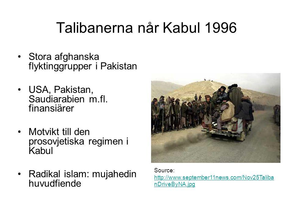 Talibanerna når Kabul 1996 Stora afghanska flyktinggrupper i Pakistan USA, Pakistan, Saudiarabien m.fl.