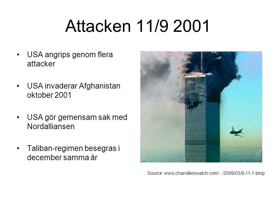 Attacken 11/9 2001 USA angrips genom flera attacker USA invaderar Afghanistan oktober 2001 USA gör gemensam sak med Nordalliansen Taliban-regimen bese